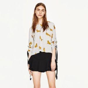 Zara Dog Print Blouse
